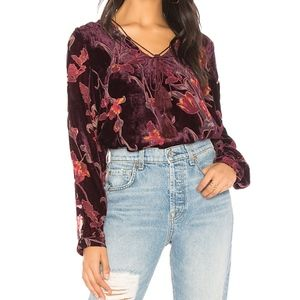 J.O.A. Burnout Velvet Tie Neck Top Wine Red Floral